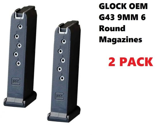 Glock Factory Magazine OEM for Glock 43 / G43 9mm - 6 Round - 2 PACK NEWEST  Gen