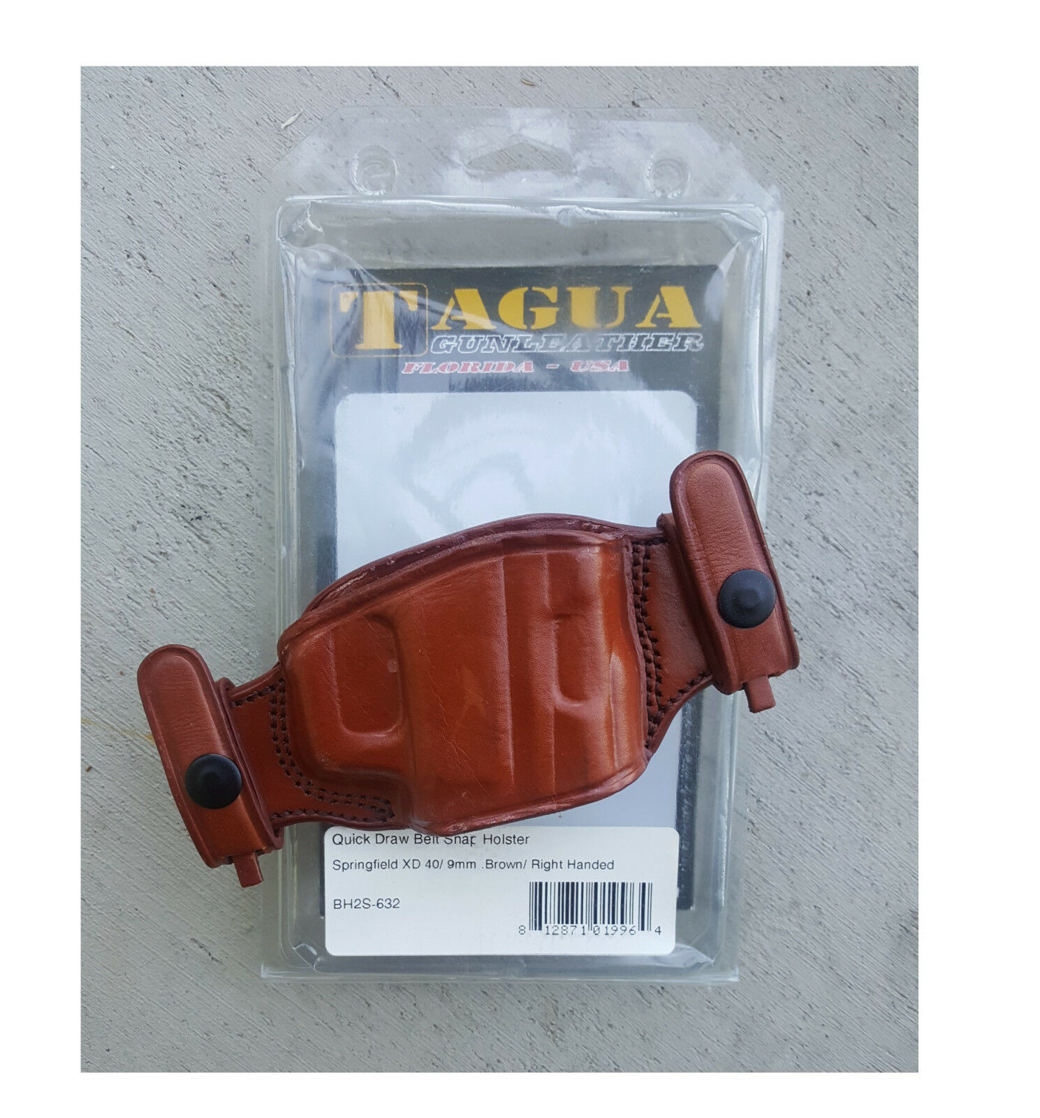 Tagua - Quick Draw Belt Snap Holster - # BH2S-632 - Brown - RH - See Fit  Below